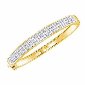 14kt Yellow Gold Women's Princess Diamond Luxury Bangle Bracelet 6.00 Cttw - FREE Shipping (US/CAN)