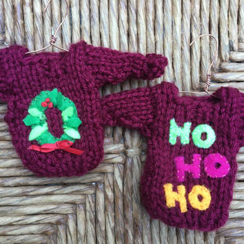 Miniature Sweater Ornaments, set of 2 Tiny Sweater Ornaments, Christmas Wreath Ornament, Handmade Xmas Decor, Xmas Tree Ornament, Mini Xmas