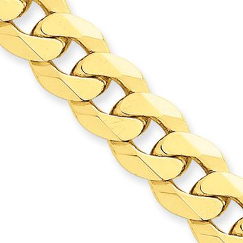 Men's 9.5mm 14k Yellow Gold Solid Beveled Curb Chain Bracelet, 9 Inch