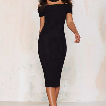 Tori Ribbed Off-the-Shoulder Dress