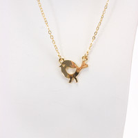 Gold Slender Chain Chick Pendent Necklace