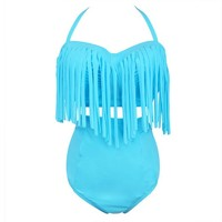Plus Size Women Retro Fringe Top High Waist Bikini Swimwear Swimsuit