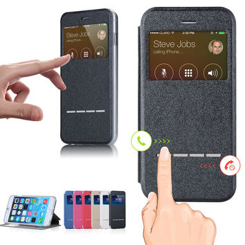 Leather Case For iPhone 6  With View Window Flip and Stand