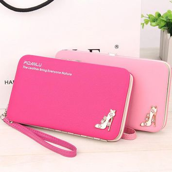 New style women's High-heeled shoes pencil case wallet Ms. Lunch box style purse Mobile Phone Bags Free Shipping 1311