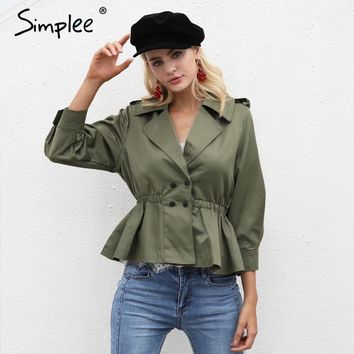 Simplee Army green short trench coat windbreaker Autumn double breasted coats female Trun down collar women overcoat outerwear