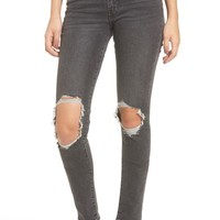 Levi's® 721 Ripped High Waist Skinny Jeans (Rugged Black)   Nordstrom