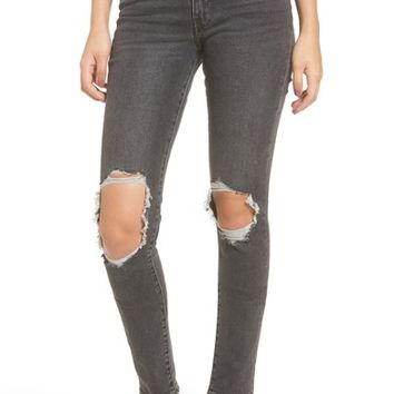 Levi's® 721 Ripped High Waist Skinny Jeans (Rugged Black) | Nordstrom