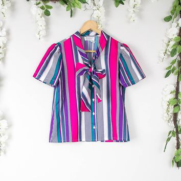 Vintage Striped Tie Neck Blouse