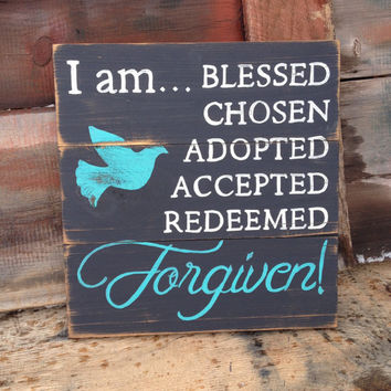 Christian Wood Sign, Religious, Blessed, Distressed, Hand Painted, Square, Country Rustic Primitive Style, Religious, Black, Turquoise, Dove