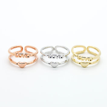 Love heart knuckle, midi ring