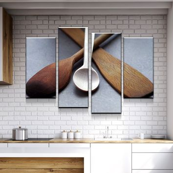 Utensil Cross Life Kitchen and Dining Room Wall Decor Canvas Set