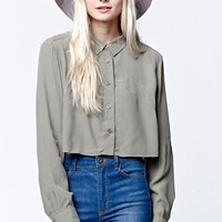 LA Hearts Yoke Detail Cropped Button-Down Shirt - Womens Shirts