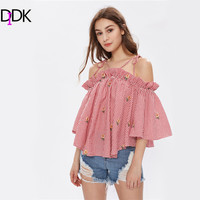 DIDK Strappy Tie Shoulder Trumpet Sleeve Trapeze Gingham Top Three Quarter Length Sleeve Cold Shoulder Plaid Blouse-in Blouses & Shirts from Women's Clothing & Accessories on Aliexpress.com | Alibaba Group