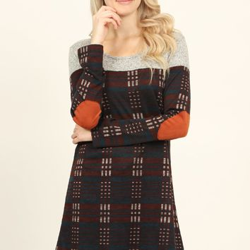 Suede Elbow Patch Print Tunic