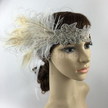 ICIKL3Z Fashion Diamante Rhinestone Feather Headband Flapper Fancy Dress Costume Party Hair band Headpiece 1920's Gatsby