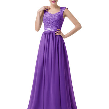 Lace Prom Dresses 2016 Grace Karin Backless Long Chiffon Ombre Bridesmaid Dress Ballkleider Grey Purple Royal Blue Prom Gowns