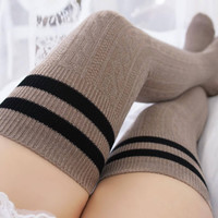 Shawna Striped Knitted Thigh High Socks (Mocha)