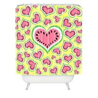 Lisa Argyropoulos Watermelon Love Sunny Yellow Shower Curtain