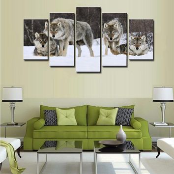 Frame HD Printed 5 Piece Modern Canvas Art Wolf Pack Snow Animal Painting On Canvas Home Decor Prints Posters Wall Art Picture