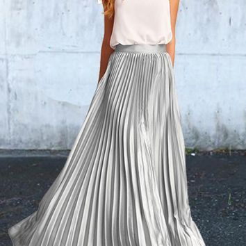 Silver Pleated Bodycon High Waisted Homecoming Party Elegant Skirt