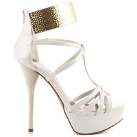 (anp) Gold plate strappy white patent pu heels
