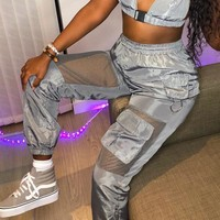 Women's Fashion Stylish Summer Patchwork With Pocket Training Casual Pants [2051183935585]