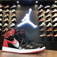 Air Jordan 1 Retro High OG NRG Patent Leather Banned Bred AJ1 Sneakers - Best Deal Online