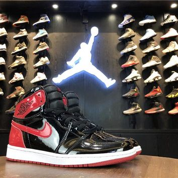 ... f3444 d61ae Air Jordan 1 Retro High OG NRG Patent Leather Banned Bred  AJ1 Sn quality ... 00b2c7305629