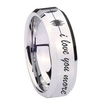 10MM Beveled Sound Wave i love you more more Mirror Beveled Edges Silver Tungsten Carbide Ring