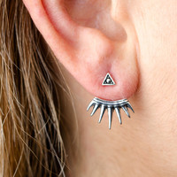 Sterling Silver Ear Jacket Earrings Sunshine Ear Cuff Earrings Boho Jewelry - EJK002