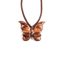 Wood Pendant Necklace, Butterfly Necklace, Wood Jewelry, Butterfly Pendant, Hand Carved Pendant, Wooden Jewelry, Butterfly Carved Pendant