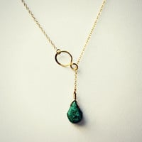 gold filled infinity turquoise drop lariat necklace, inifinty pendant, unique necklace, statement necklace, vintage style