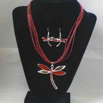 Red Enamel Dragonfly Necklace & Earring Set