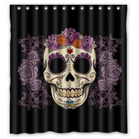 "Funky Sugar Skull flower Guardian custom Shower Curtain Bathroom decor Free Shipping 36x72"" 48x72"" 60x72"" 66x72"""