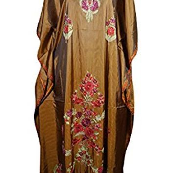 Mogul Womens Caftan Maxi Dresses Kashmiri Embroidered Shaded Desire Aadya Silk Kaftans