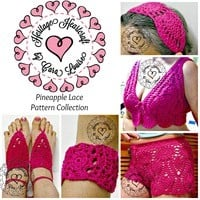 Pineapple Lace Pattern Collection PATTERNS for crochet from Heritage Heartcraft