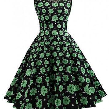 Black Patchwork Lace Shamrock Pattern St. Patrick's Day Tutu Skater Vintage Midi Dress