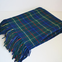 Vintage Blanket Pendleton Blanket Plaid Blanket Wool Blanket Throw Blanket Blue and Green Winter Blanket