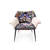 Vintage unique patchwork design armchair Pájaros