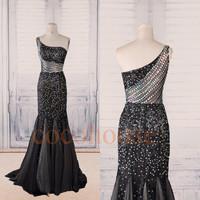 Black Lace Beaded Long Prom Dresses, One Shoulder Evening Dresses, Fashion Prom Dresses, Evening Gowns, Formal Party Dresses, Formal Wear