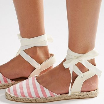 Daisy Street Stripe Ankle Tie Espadrilles at asos.com