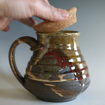 Coffee Mug with a Cork Lid, 18 oz, unique coffee mug, handthrown mug, stoneware mug, wheel thrown pottery mug, ceramics and pottery