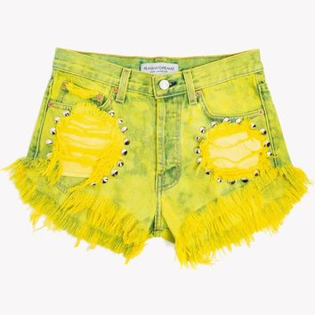 Sunburst Summer Studded High Waist Shorts