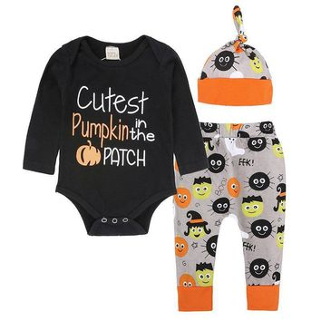 Pumpkin Baby Halloween Clothes Suits Newborn Bodysuit Trouser Cap jack-o'lantern Outfit 3pcs Boy Clothing Sets Cotton Jumpsuits