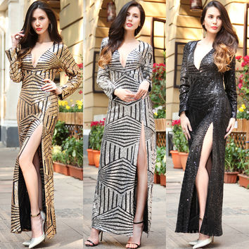 2017 long Europe and the United States evening gown sexy nightclub sequins long sleeve deep V beads [10016925453]