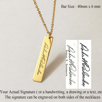 SALE 22% OFF - Personalized Signature Bar Necklace - Engrave Handwriting Bar Necklace - Memorial Gift - Silver Jewelry