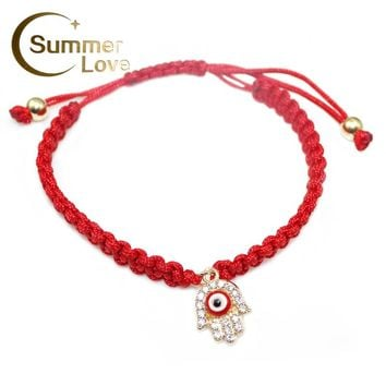 Handmade Lucky Red String Braided Rope Bracelets Green Thread Turkish Crystal Hamsa Hand Charm Love Bracelets for Women Jewelry