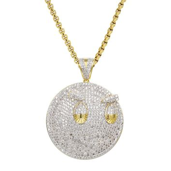"""New Blood Money Chief Keef Iced Out Small Pendant 24"""" Necklace"""