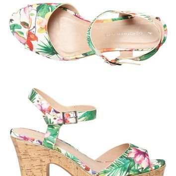 White Tropical Print 'Romana' Platform Sandals | Dorothyperkins