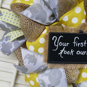 Welcome Baby Wreath Girl Nursery Elephant Nursery Yellow Gray Nursery Elephant Wreath Baby  Hospital Door Baby Shower Baby Decor Burlap